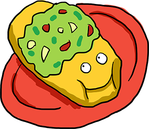 Smiling chimichanga cartoon covered in delicious guacamole.